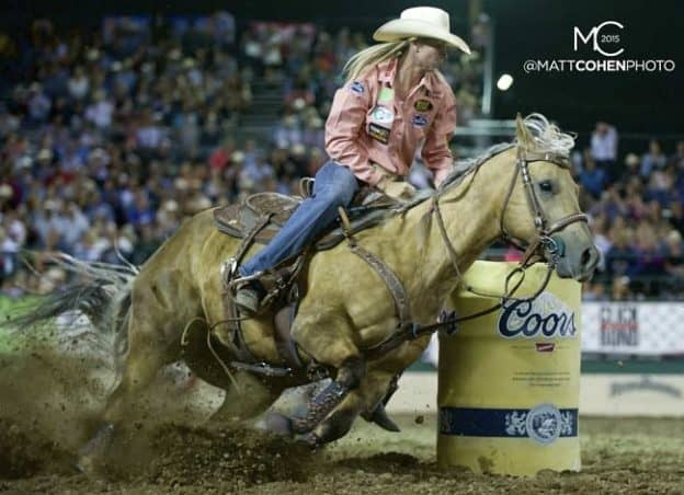Barrel racer Sherry Cervi of Marana, AZ competes in the short round at the Reno Rodeo at the Reno-Sparks Livestock Events Center in Reno, NV.